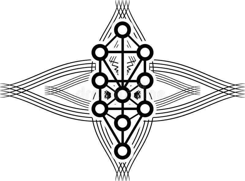 Tätowierung mit Sephiroth-Baum in Schwarzem lokalisiert stock abbildung