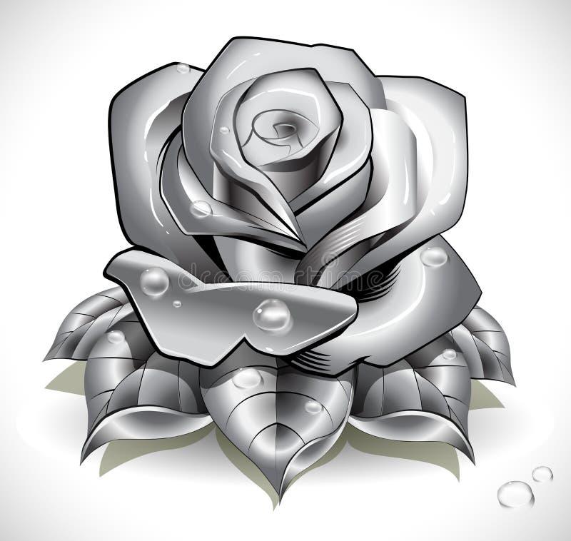 Tätowierung Rose mit Blättern und Wassertropfen lizenzfreie abbildung