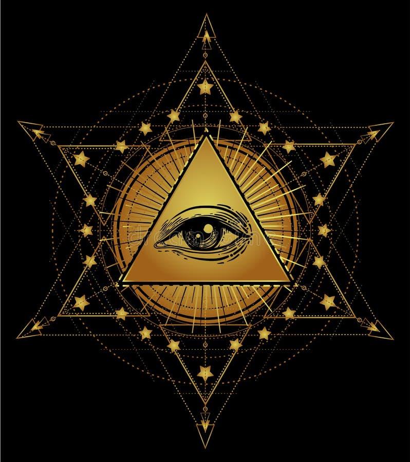 Tätowierungs-Blitz Auge von Providence Freimaurersymbol Alles sehende Auge stock abbildung