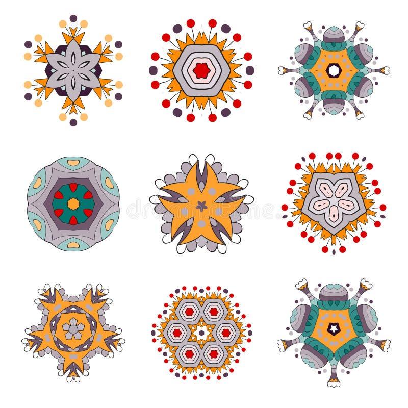 Tätowierungs-Blume Mandala Doodle Vector Designs stock abbildung