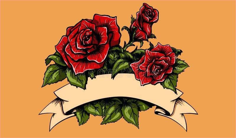 Tätowierungs-Rosen und Fahne stock abbildung