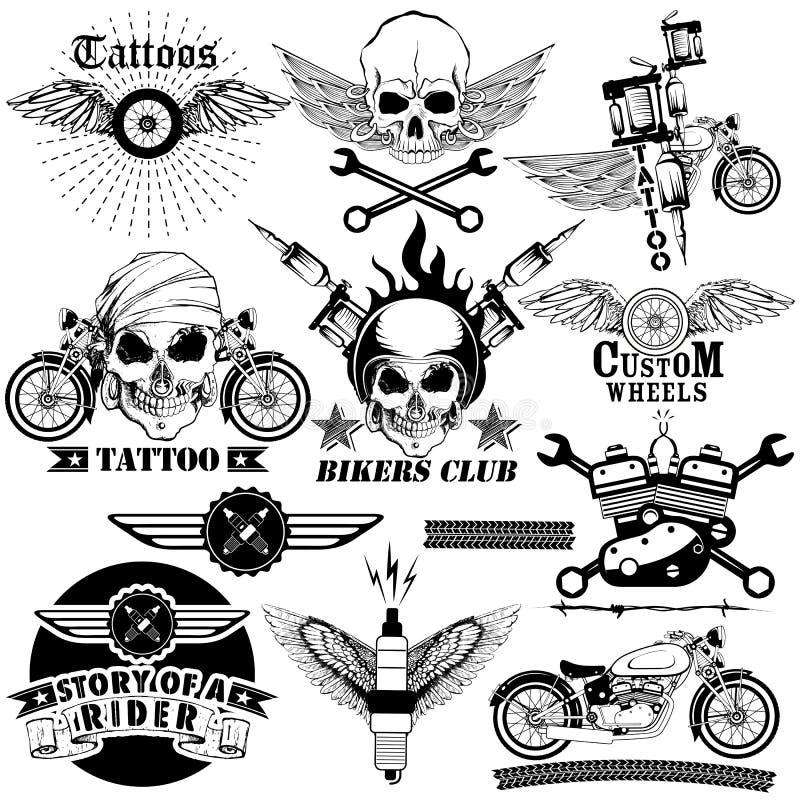 Tätowierungskunstdesign der Schädel-Fahrradreitersammlung stock abbildung