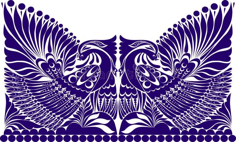 Tätowierungsrusseverzierung Folkloreverzierung mit Vogel lizenzfreie abbildung