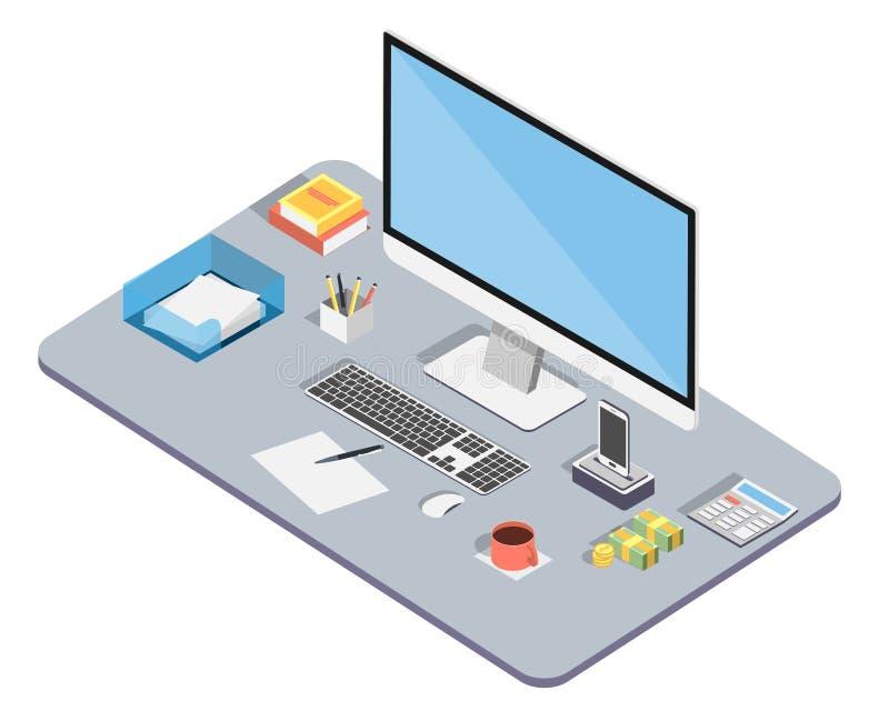 tätt kontor upp arbetsplats Ledning och affär Isometrisk bild av datoren, telefonen och diagramminnestavlan, carculator och vektor illustrationer