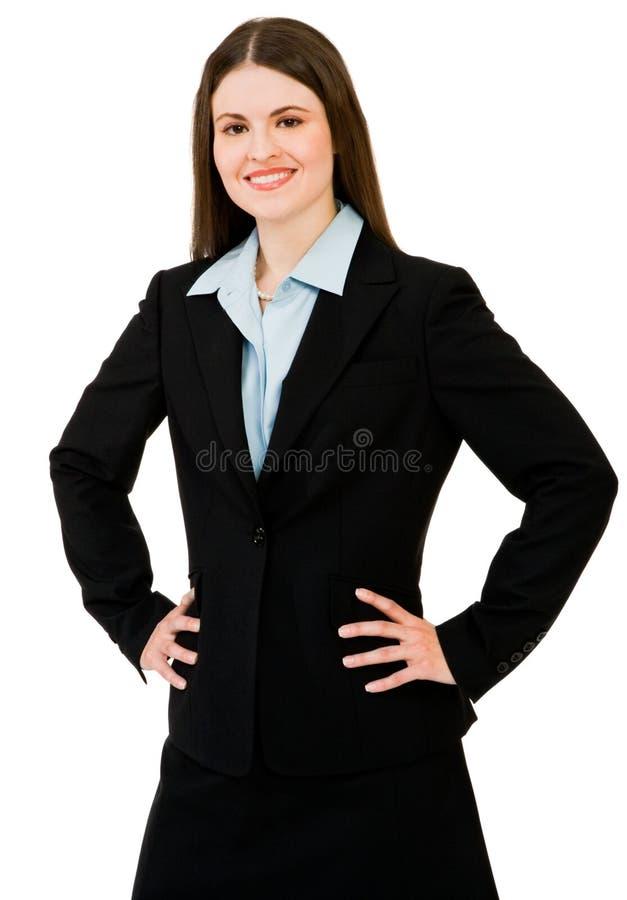 tätt le för affärskvinna upp royaltyfri fotografi