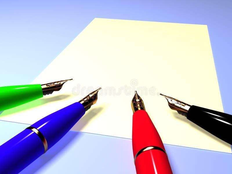 tätt springbrunnpapper pens upp arket vektor illustrationer