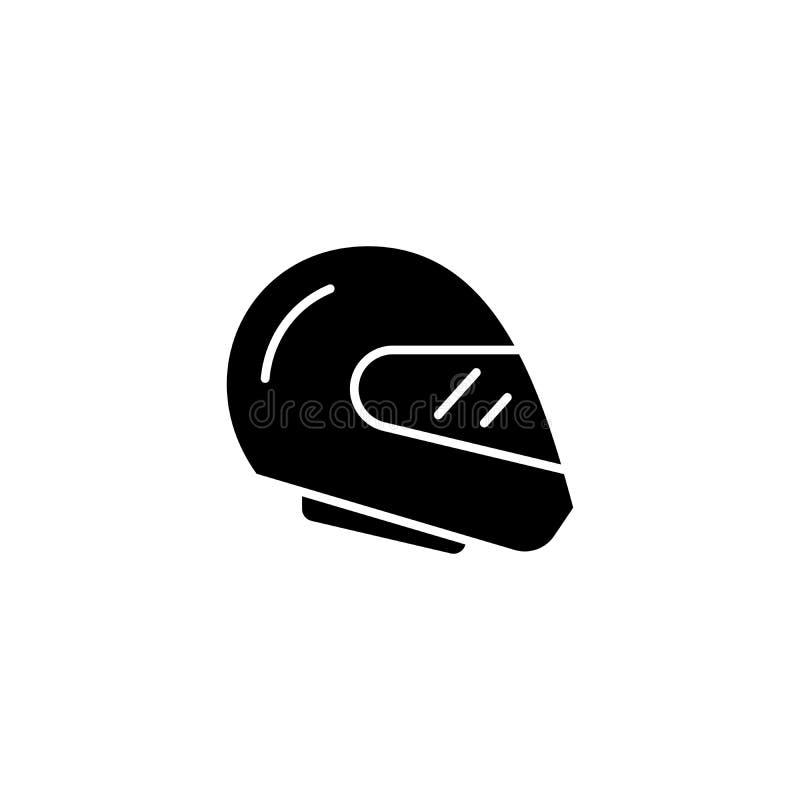 Tävlings- begrepp för hjälmsvartsymbol Tävlings- symbol för hjälmlägenhetvektor, tecken, illustration stock illustrationer