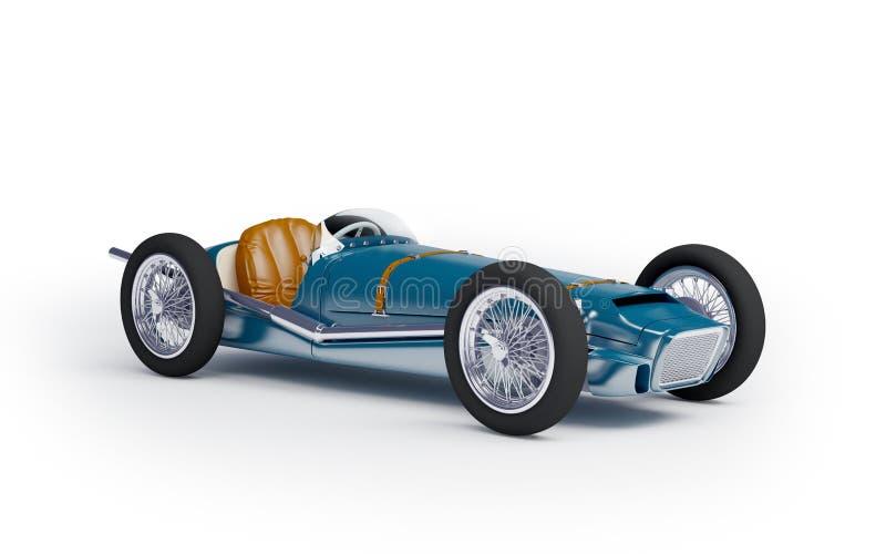 Tävlings- bil för blå tappning royaltyfri illustrationer