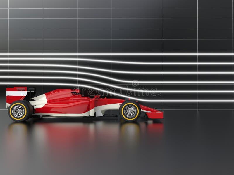 Tävlings- bil för röd snabb formel i vindtunnel vektor illustrationer