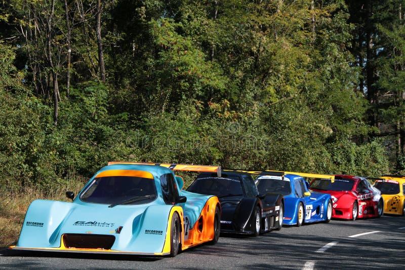 Tävlings- bilar för starten royaltyfria foton