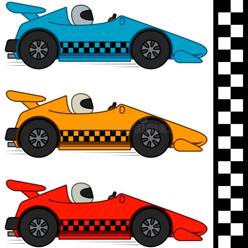 Tävlings- bilar & fullföljandelinje vektor illustrationer