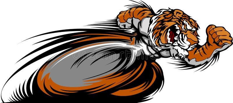 Tävlings- bild för tigermaskotdiagram vektor illustrationer
