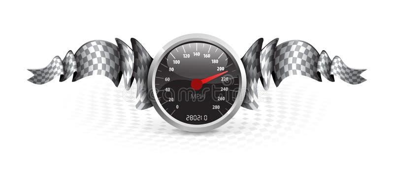 Tävlings- emblem med hastighetsmätaren royaltyfri illustrationer