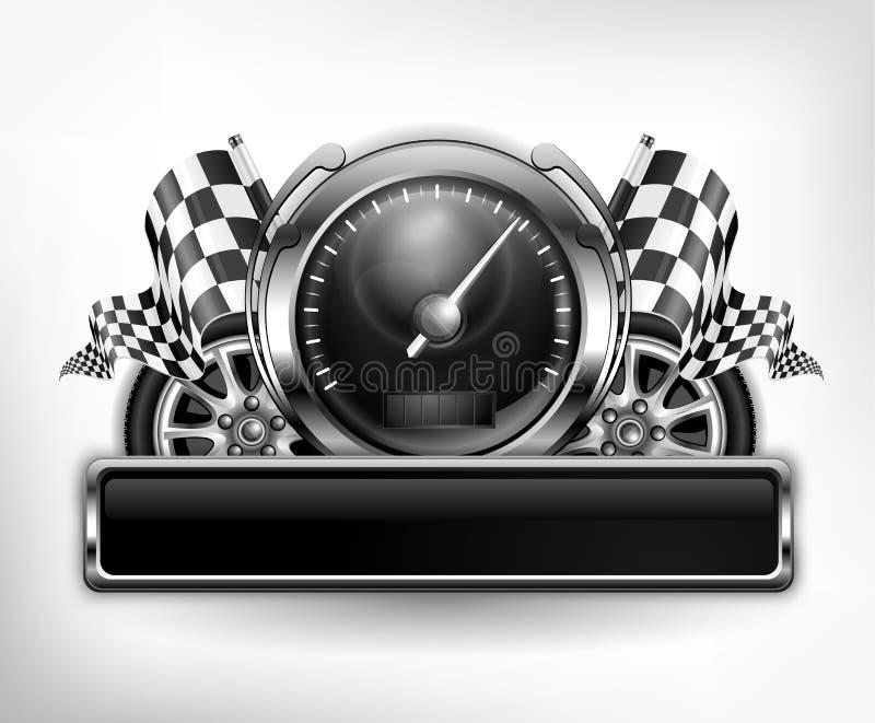 Tävlings- emblemspeedometer på vit royaltyfri illustrationer