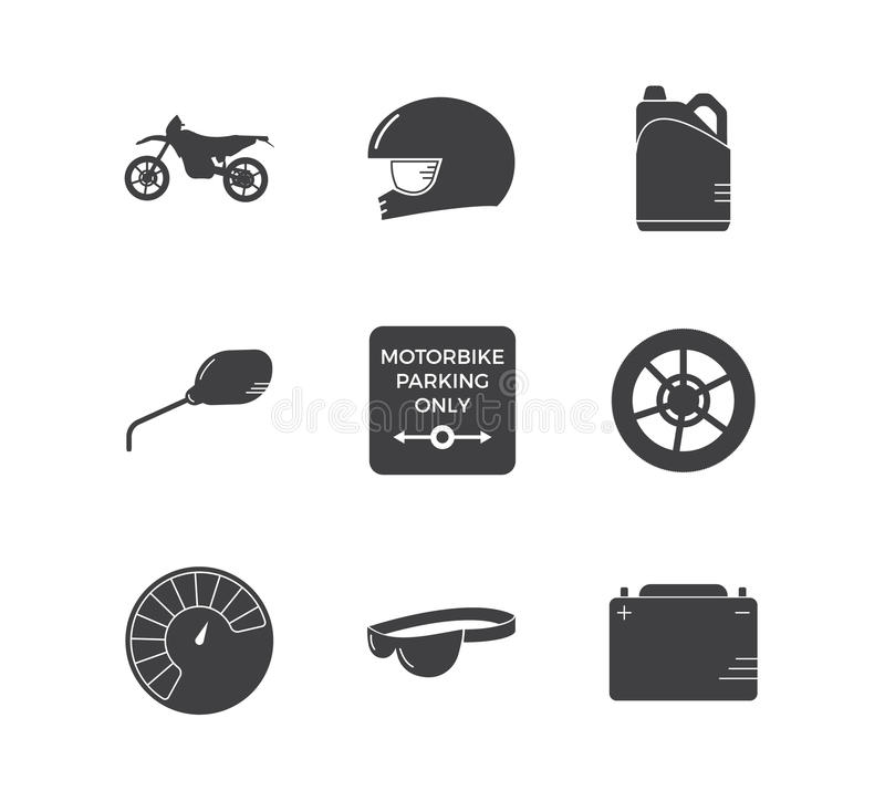 Tävlings- enkel symbolsuppsättning för motorcykel royaltyfri illustrationer