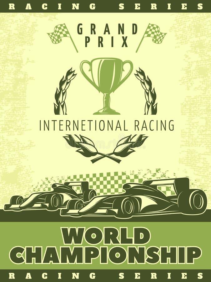 Tävlings- grön affisch royaltyfri illustrationer
