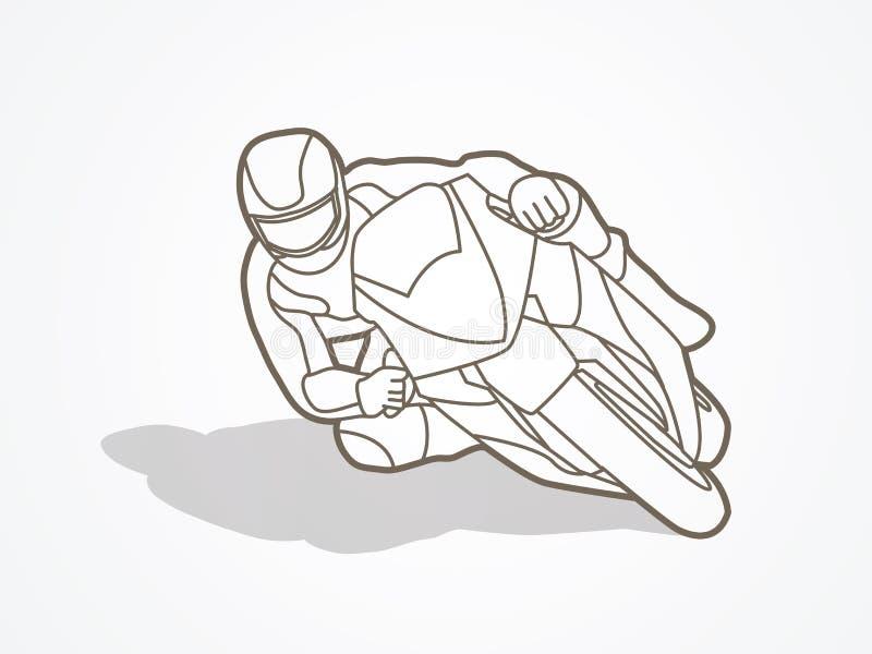 Tävlings- grafisk vektor för motorcykel royaltyfri illustrationer