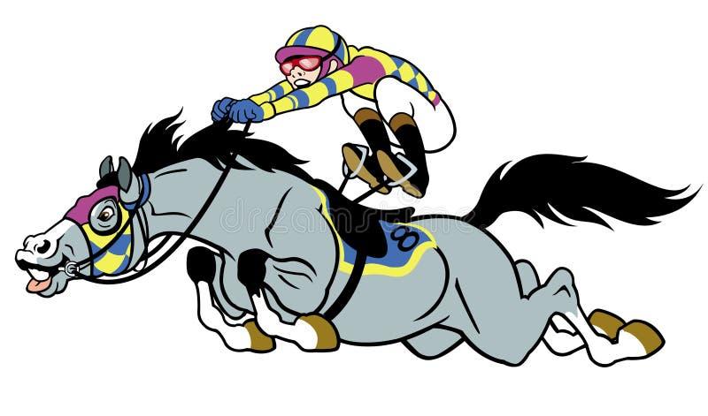 Tävlings- häst med jockeyen vektor illustrationer