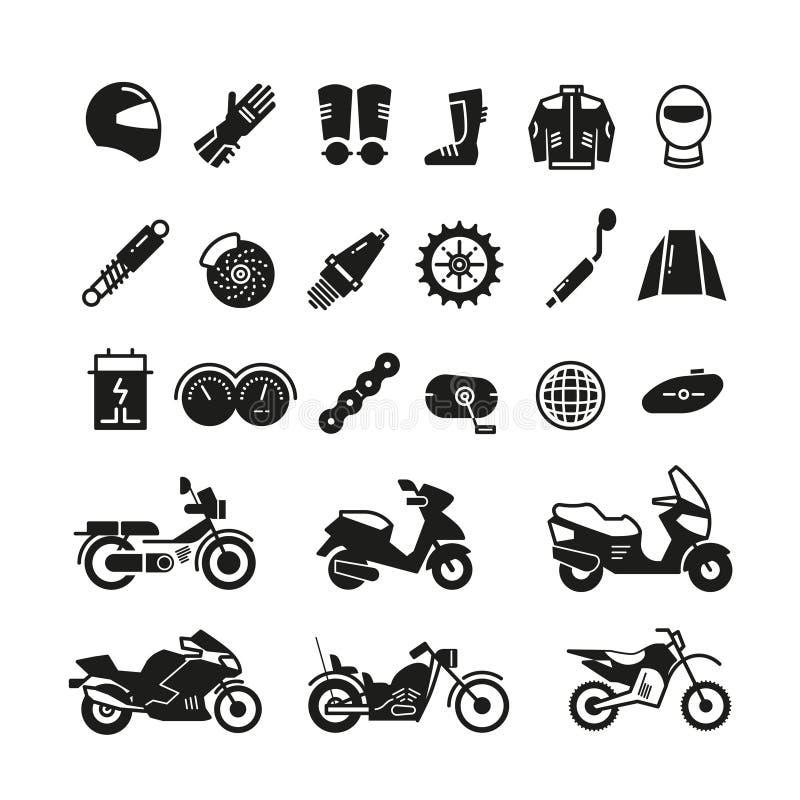 Tävlings- motorcykel, mopeddelar och trans.vektorsymboler royaltyfri illustrationer