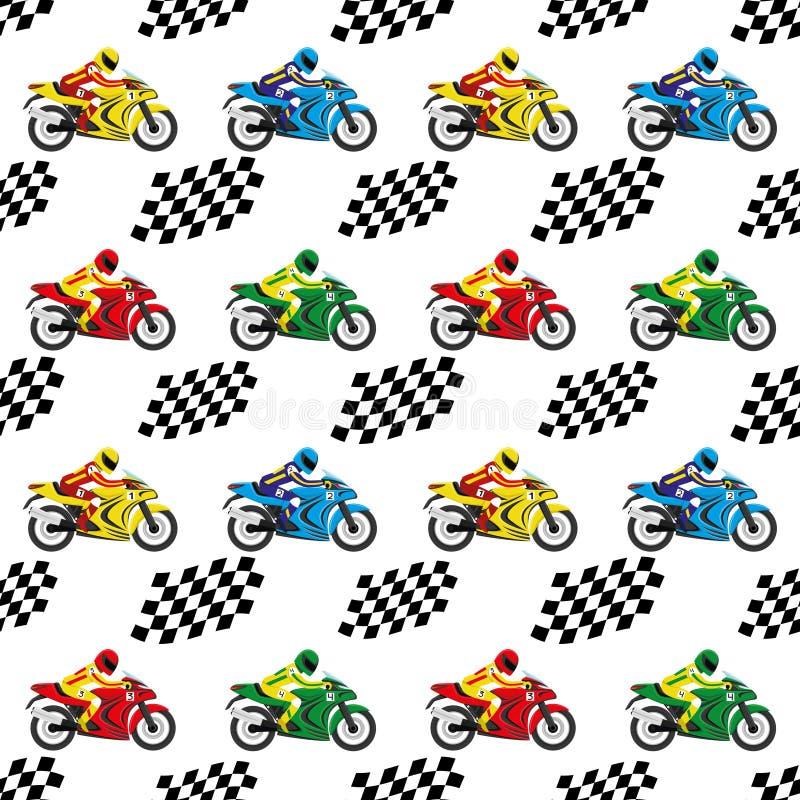 Tävlings- motorcyklar och rutiga flaggor royaltyfri illustrationer