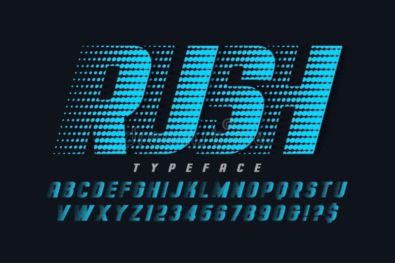 Tävlings- skärmstilsortsdesign, alfabet, bokstäver och nummer stock illustrationer