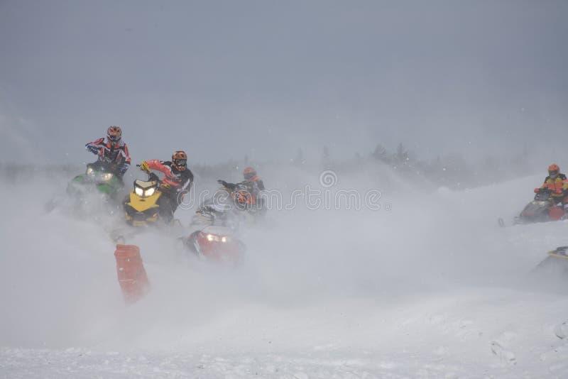 tävlings- snowstorm arkivbild