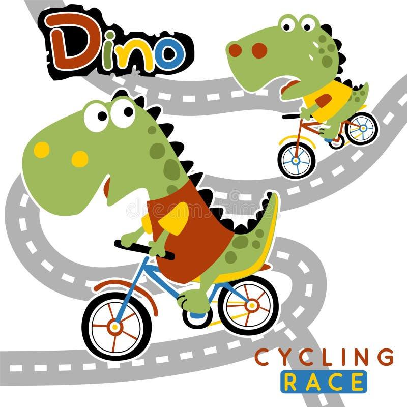 Tävlings- tecknad film för cykel på vit bakgrund vektor illustrationer