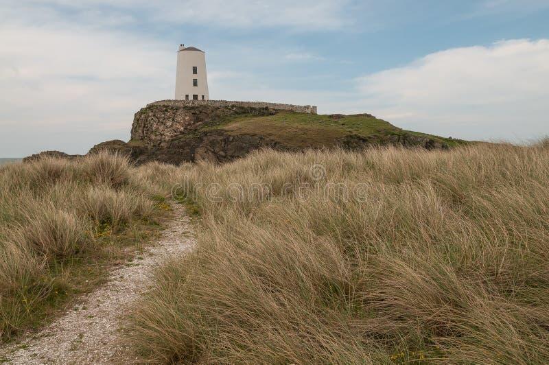 Tŵr Mawr latarnia morska, Ynys Llanddwyn zdjęcia stock