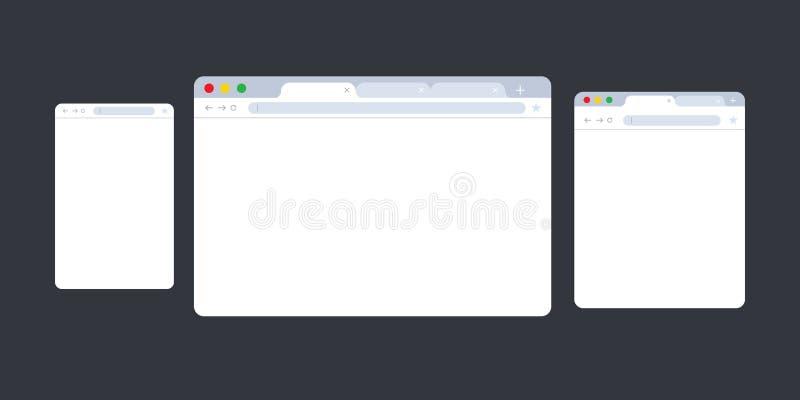 tła błękitny wyszukiwarki przejrzysty okno Przeglądarka internetowa w mieszkanie stylu Nadokiennego pojęcia interneta wyszukiwark ilustracji