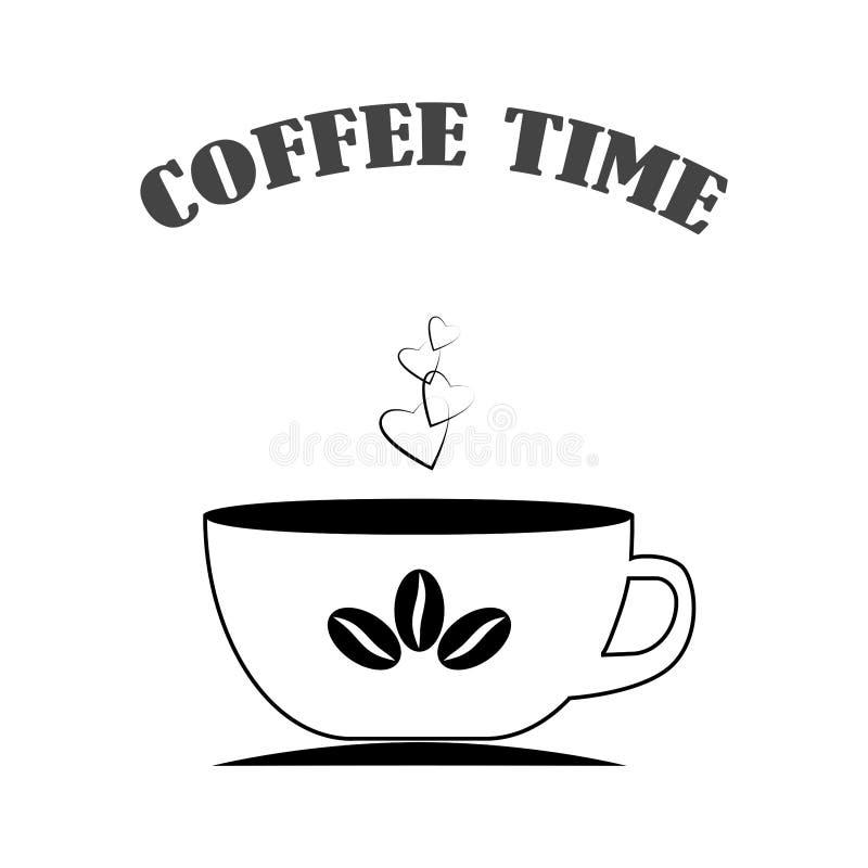 tła filiżanki odosobniony biel Cappuccino z fasolami Kubek gorący napoje Śniadaniowy czas Wektorowa płaska ikona ilustracja wektor