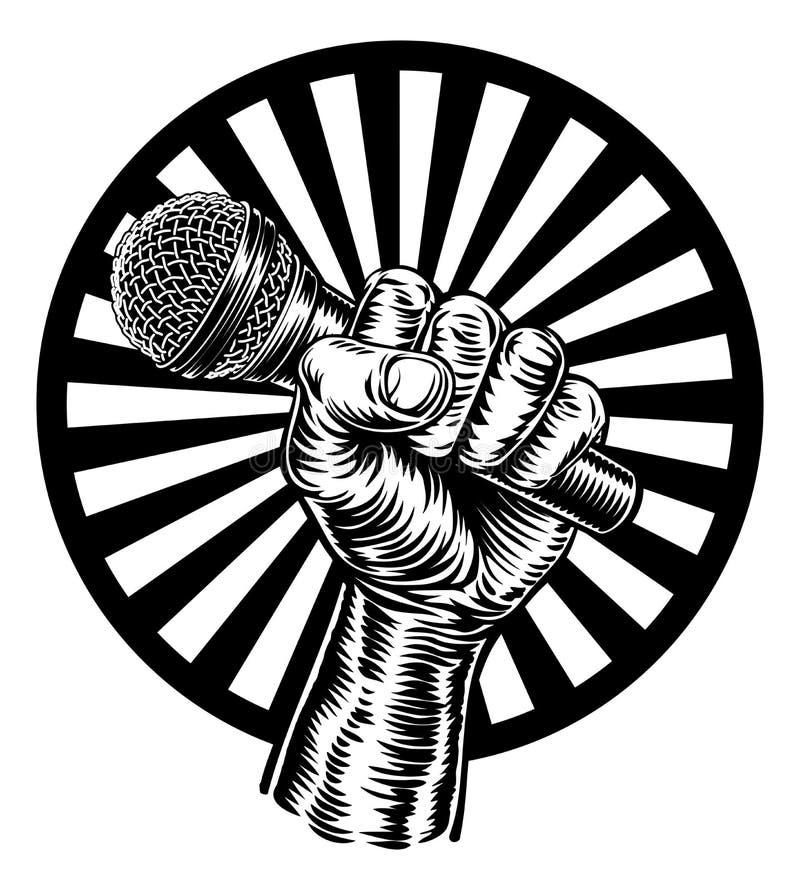 tła zakończenia ręki mienia mikrofon w górę biel royalty ilustracja