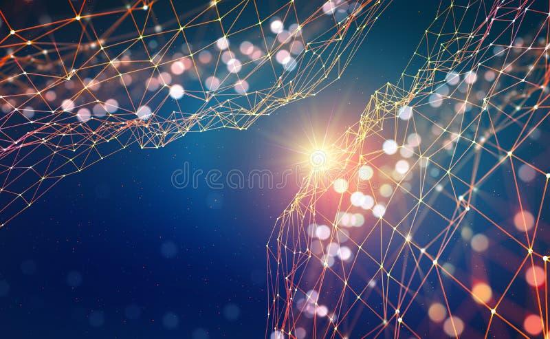 tło abstrakcyjna technologii Olśniewająca gwiazda Rozjarzona wielobok sieć z bokeh skutkiem ilustracja wektor