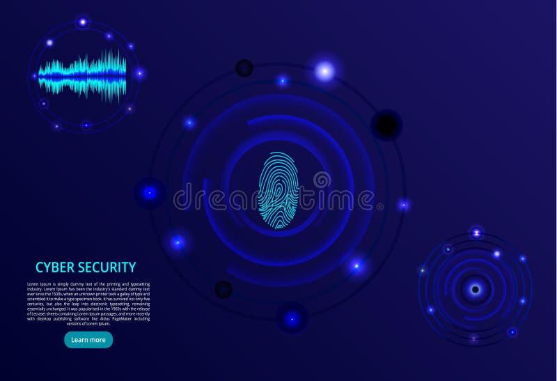tło abstrakcyjna technologii Pojęcie cybersecurity Odcisk palca, oko i głos, skanujemy - wektorową ilustrację ilustracji