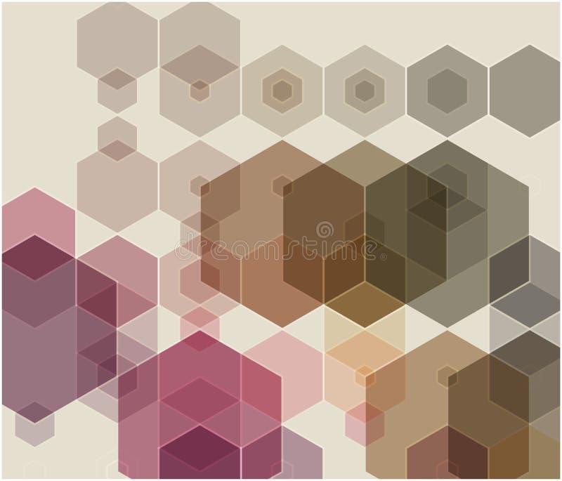 Tło beż, różowi geometryczni kształty Mozaika wzór Wektor EPS 10 zdjęcie royalty free