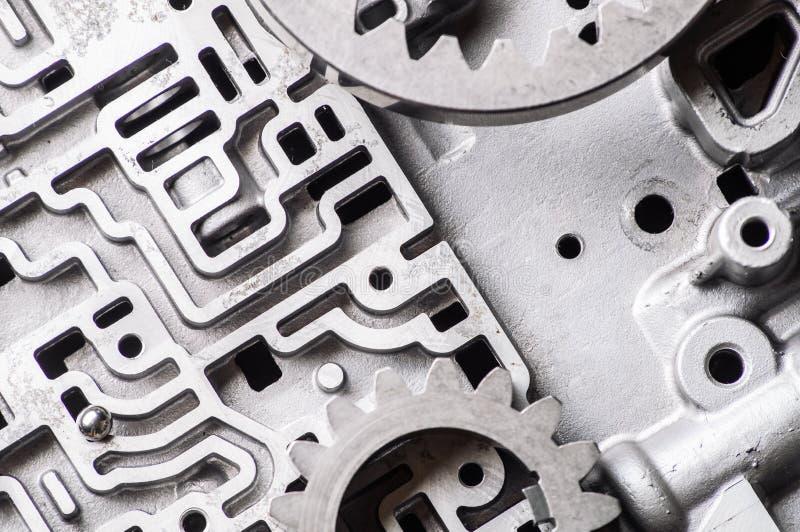 Tło i wzór stare metal części gearshift boksujemy Mózg przekładnie i przekazy zdjęcia stock