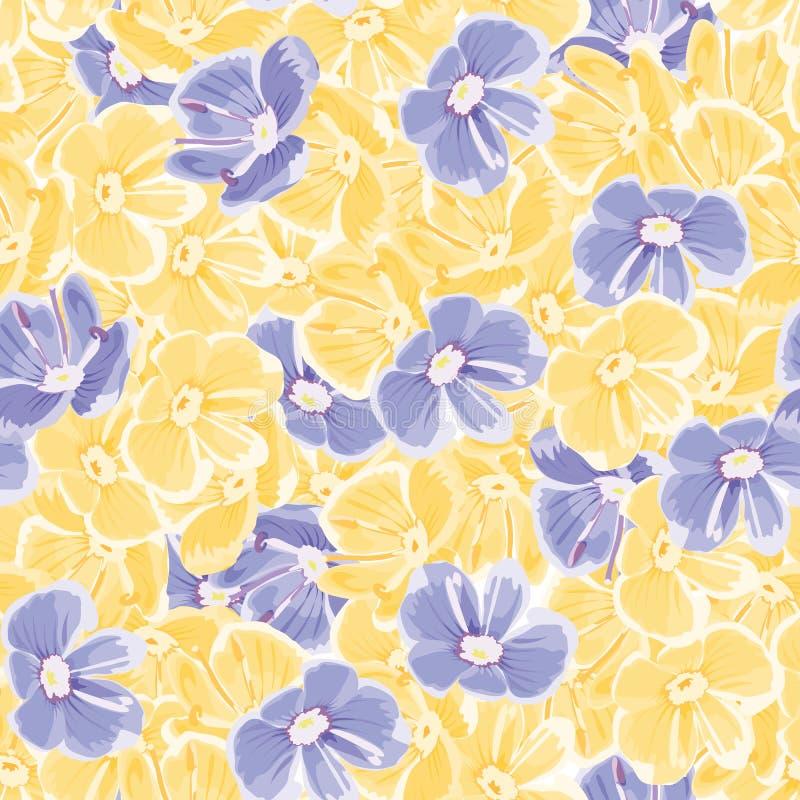 tło mleczy spring pełne meadow żółty Błękitny i żółci kwiaty wektor bezszwowy wzoru Kwiecisty tło tekstylna farba tło powtórkowy royalty ilustracja