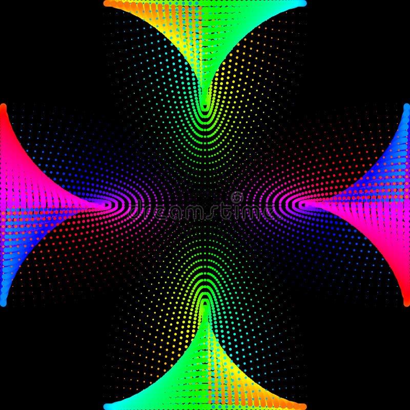 Tło, tekstura, abstrakcja Barwiona kropki rama izoluje na czarnym tle n ilustracja wektor