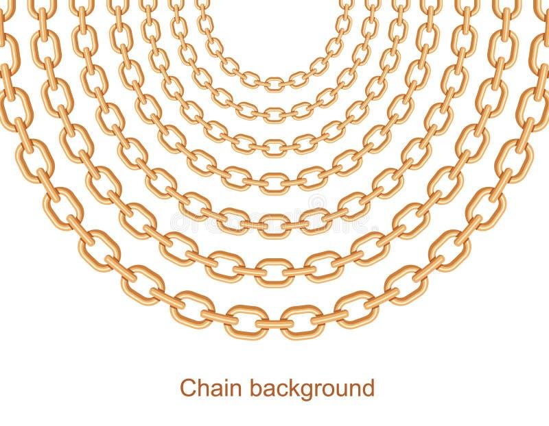 Tło z łańcuch złotą kruszcową kolią Na biel ilustracja wektor