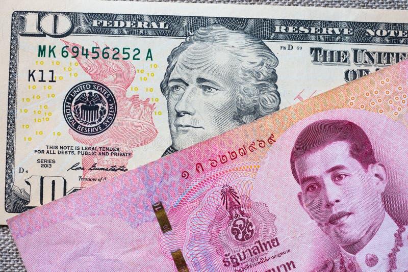 Tło z pieniądze amerykańskim dolarem i Tajlandzkiego bahtu banknotem obraz royalty free