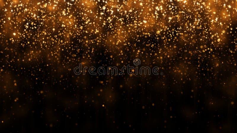 Tło z złotej błyskotliwości spada cząsteczkami Piękny wakacyjny tło szablon dla premia projekta Spada złocista cząsteczka obraz stock