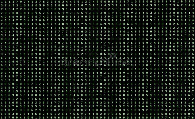 Tło zielone liczby od (0) 9 na komputerowym monitorze obraz royalty free