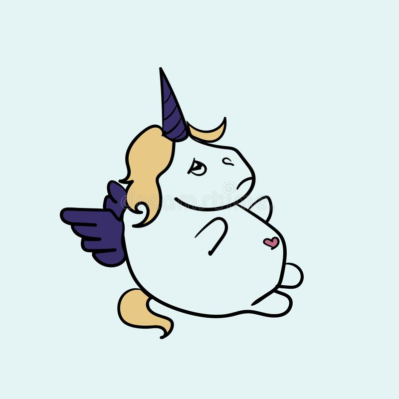Tłuściuchny Pegasus z smutnym spojrzeniem przy życiem ilustracja wektor