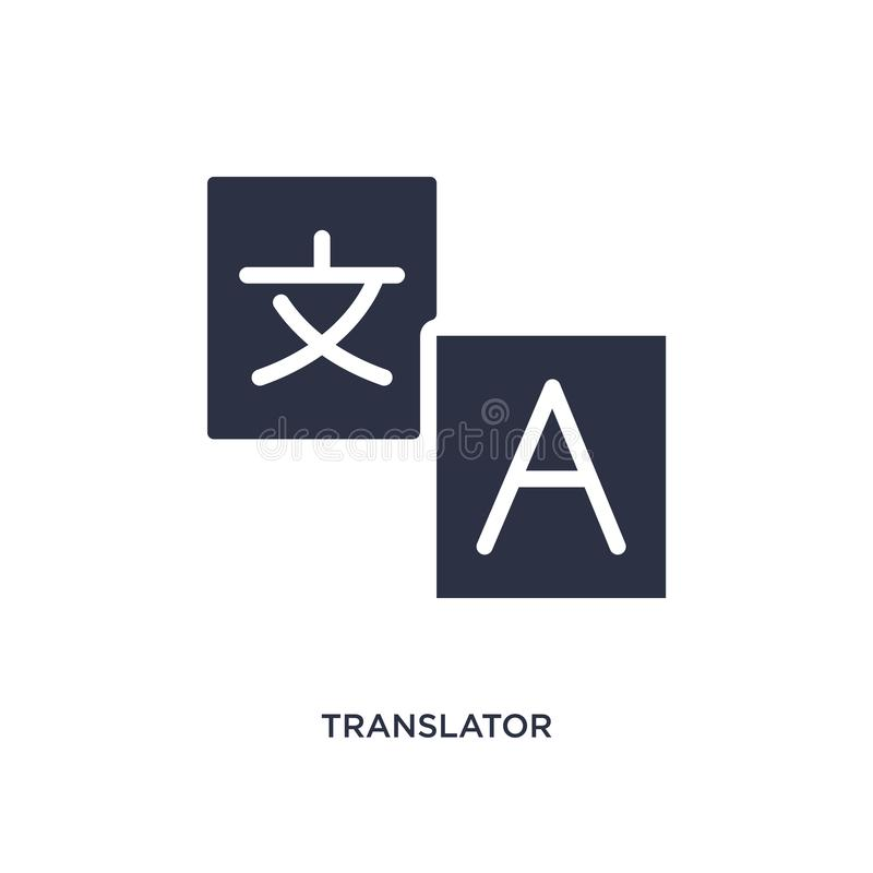 tłumacz ikona na białym tle Prosta element ilustracja od strategii pojęcia ilustracja wektor