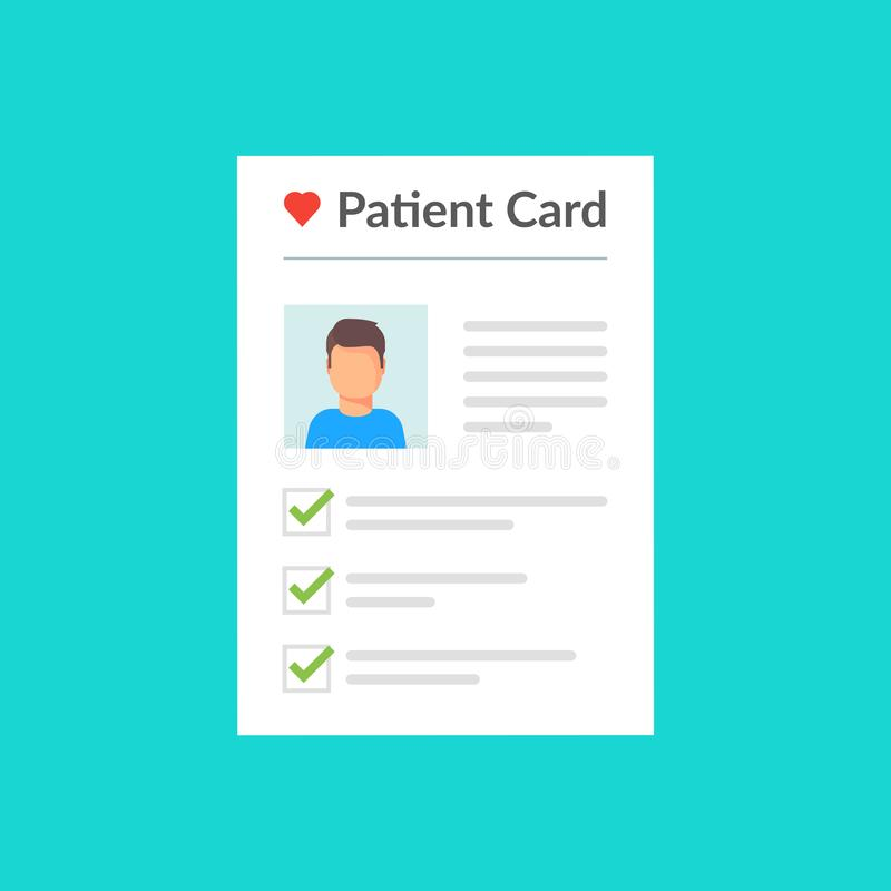 tålmodigt kort Sund diagnos Pappers- dokument för sjukdomshistoria med tålmodig vård- information Begrepp av bra resultat royaltyfri illustrationer