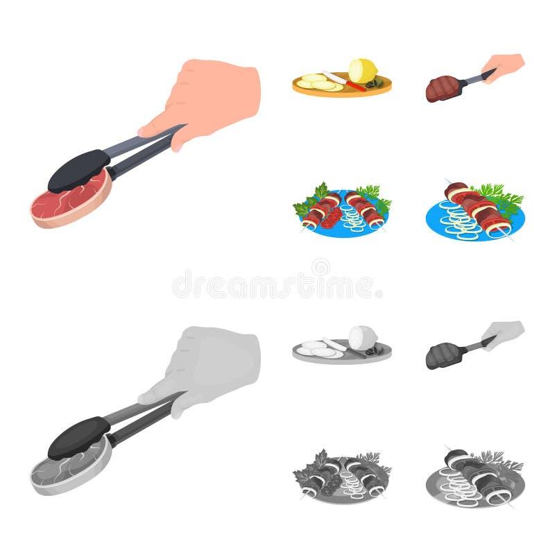 Tång med biff, stekt kött på en skopa och att skiva citronen och oliv, kebab på en platta med grönsaker Mat och vektor illustrationer