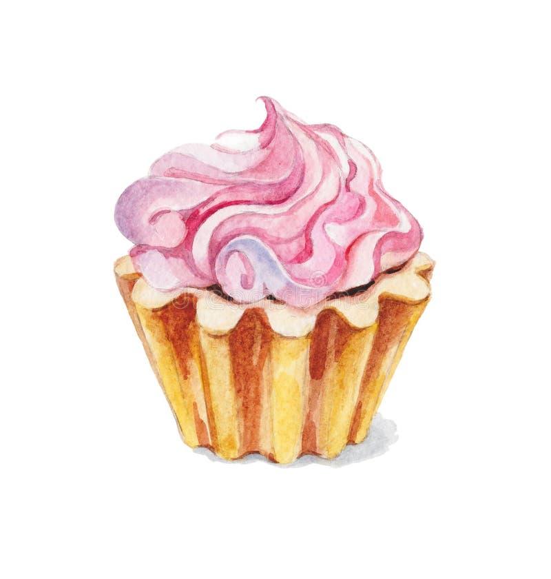 Tårta med kräm stock illustrationer