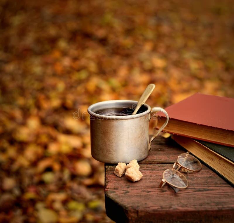Tè aromatizzato in una tazza del metallo, nei vetri e nei vecchi libri su una tavola su un fondo delle foglie di autunno immagine stock libera da diritti