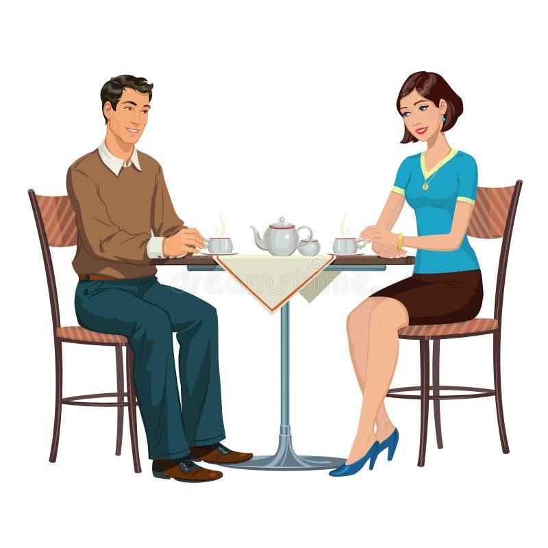 Tè bevente delle giovani coppie alla tavola royalty illustrazione gratis