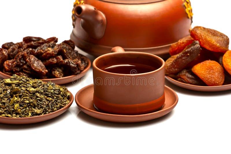 Tè cinese e frutti secchi fotografie stock libere da diritti
