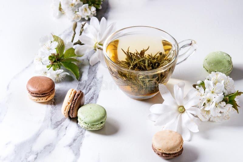 Tè con i fiori della molla fotografia stock